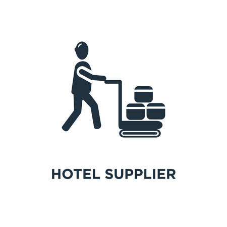Hotel Supplier icon. Black filled vector illustration. Hotel Supplier symbol on white background. Can be used in web and mobile.