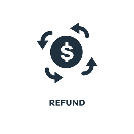 Refund icon. Black filled vector illustration. Refund symbol on white background. Can be used in web and mobile.  イラスト・ベクター素材