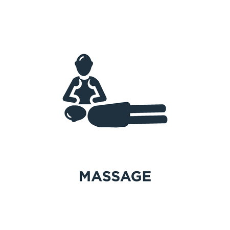 massage icon. Black filled vector illustration. massage symbol on white background. Can be used in web and mobile.