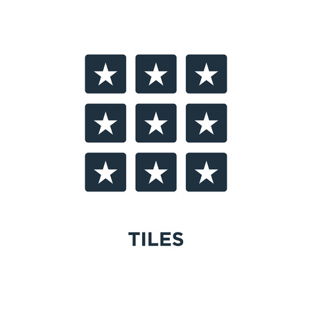 Tiles icon. Black filled vector illustration. Tiles symbol on white background. Can be used in web and mobile.