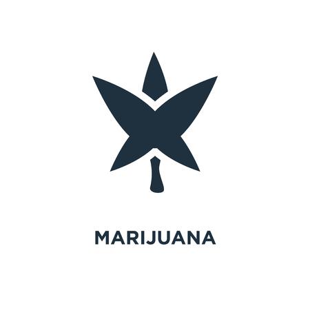 Marijuana icon. Black filled vector illustration. Marijuana symbol on white background. Can be used in web and mobile.