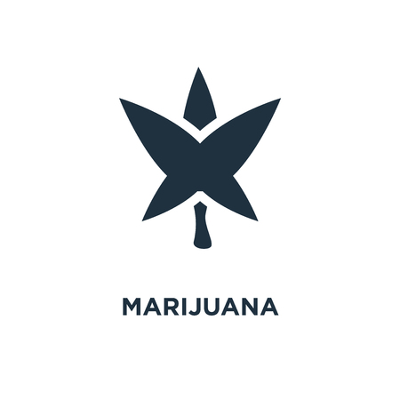 Marijuana icon. Black filled vector illustration. Marijuana symbol on white background. Can be used in web and mobile.