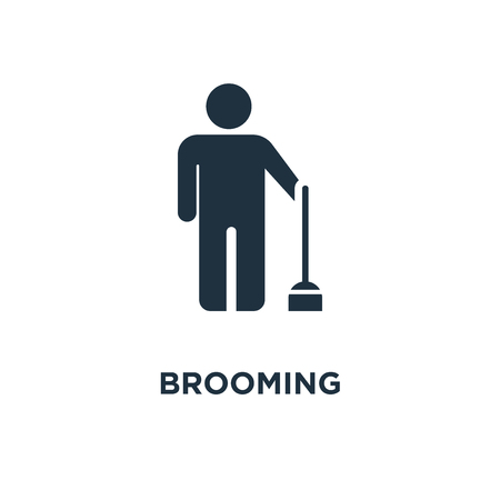Brooming icon. Black filled vector illustration. Brooming symbol on white background. Can be used in web and mobile.