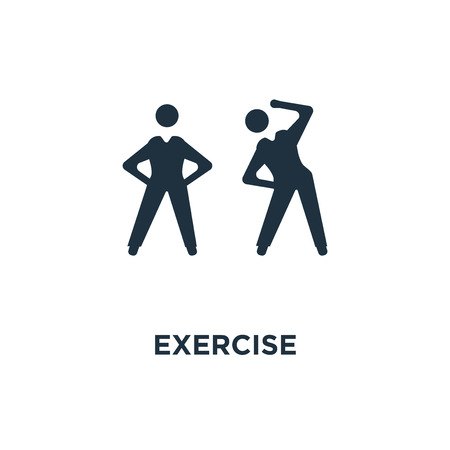 Exercise icon. Black filled vector illustration. Exercise symbol on white background. Can be used in web and mobile.