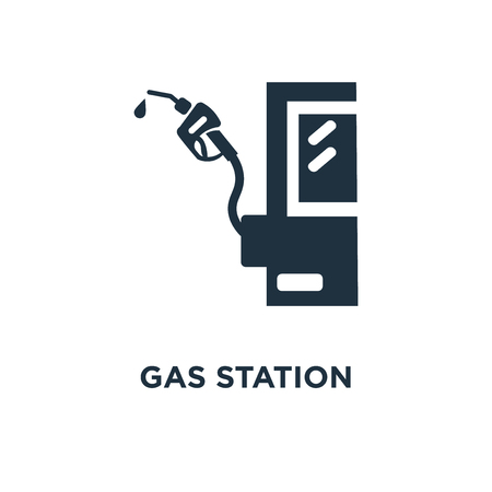 Gas station icon. Black filled vector illustration. Gas station symbol on white background. Can be used in web and mobile. Stock Illustratie