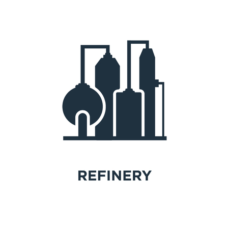 Refinery icon. Black filled vector illustration. Refinery symbol on white background. Can be used in web and mobile. Vettoriali