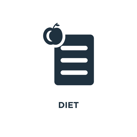 Diet icon. Black filled vector illustration. Diet symbol on white background. Can be used in web and mobile. Çizim