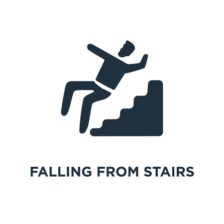Falling from stairs icon. Black filled vector illustration. Falling from stairs symbol on white background. Can be used in web and mobile.
