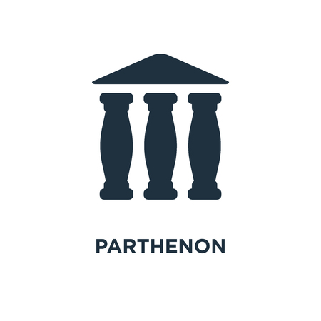 Parthenon-Symbol. Schwarz gefüllte Vektorillustration. Parthenon-Symbol auf weißem Hintergrund. Kann im Web und mobil verwendet werden.