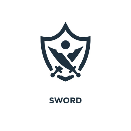 Sword icon. Black filled vector illustration. Sword symbol on white background. Can be used in web and mobile. Stock Vector - 112686676