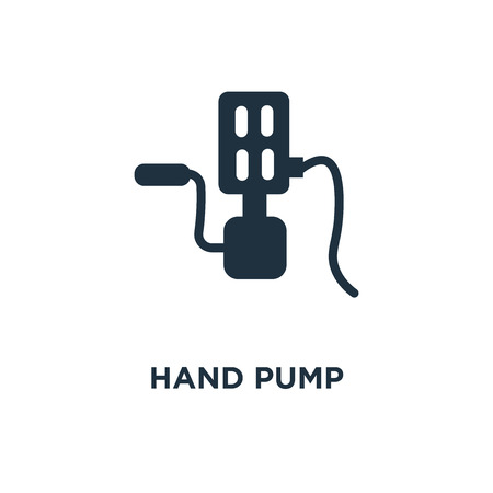 Hand pump icon. Black filled vector illustration. Hand pump symbol on white background. Can be used in web and mobile.