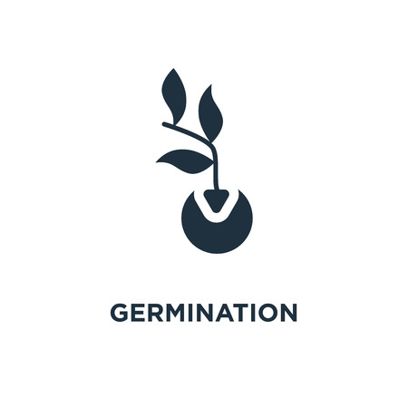 Germination icon. Black filled vector illustration. Germination symbol on white background. Can be used in web and mobile. Vectores