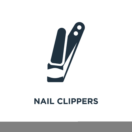 Nail clippers icon. Black filled vector illustration. Nail clippers symbol on white background. Can be used in web and mobile. Illustration