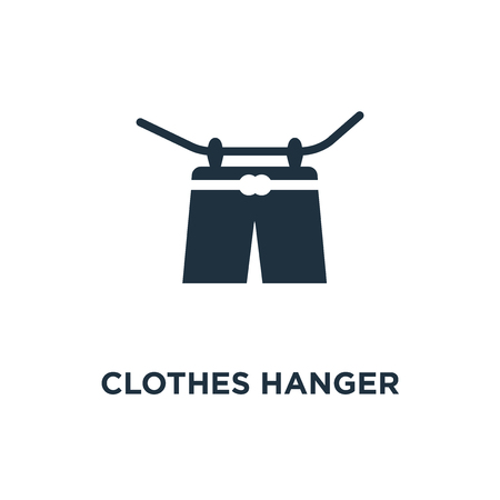 Clothes hanger icon. Black filled vector illustration. Clothes hanger symbol on white background. Can be used in web and mobile.