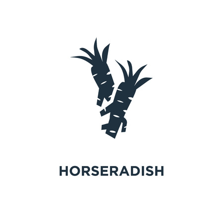 Horseradish icon. Black filled vector illustration. Horseradish symbol on white background. Can be used in web and mobile. Illustration