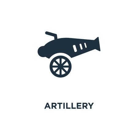 Artillery icon. Black filled vector illustration. Artillery symbol on white background. Can be used in web and mobile.