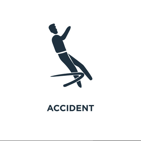 Accident icon. Black filled vector illustration. Accident symbol on white background. Can be used in web and mobile.