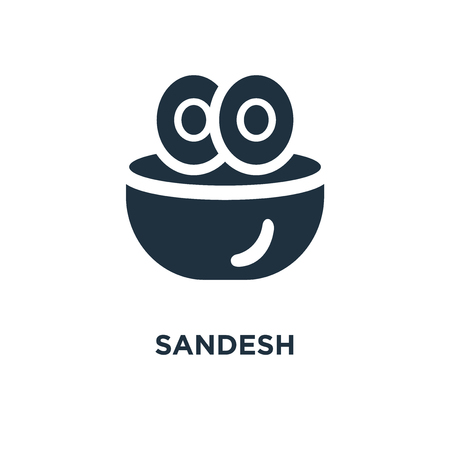 Sandesh icon. Black filled vector illustration. Sandesh symbol on white background. Can be used in web and mobile. Stock Vector - 112624982