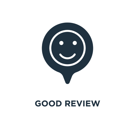 Good review icon. Black filled vector illustration. Good review symbol on white background. Can be used in web and mobile. Vektorové ilustrace