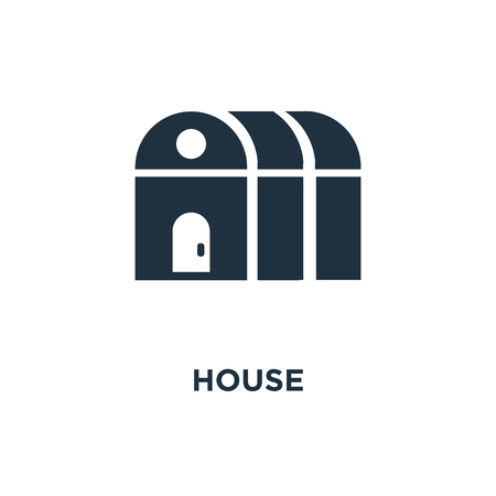 Greenhouse icon. Black filled vector illustration. Greenhouse symbol on white background. Can be used in web and mobile.