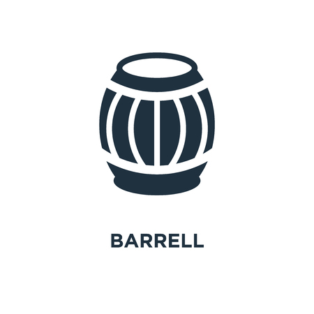 Barrell icon. Black filled vector illustration. Barrell symbol on white background. Can be used in web and mobile.