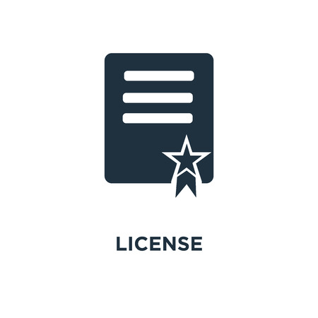 License icon. Black filled vector illustration. License symbol on white background. Can be used in web and mobile.