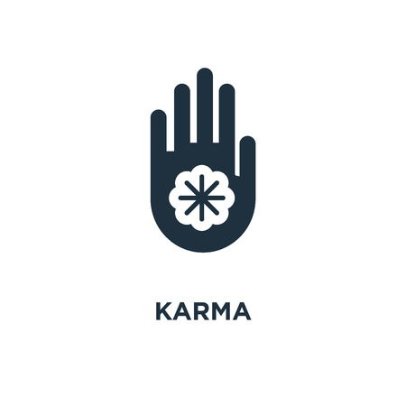 Karma icon. Black filled vector illustration. Karma symbol on white background. Can be used in web and mobile.