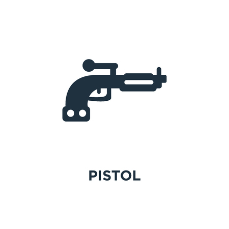 Pistol icon. Black filled vector illustration. Pistol symbol on white background. Can be used in web and mobile.