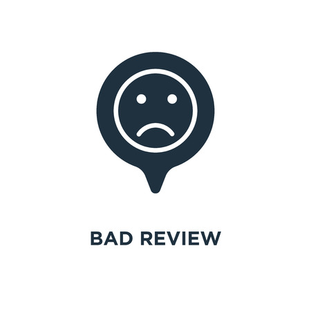 Bad review icon. Black filled vector illustration. Bad review symbol on white background. Can be used in web and mobile. Illusztráció