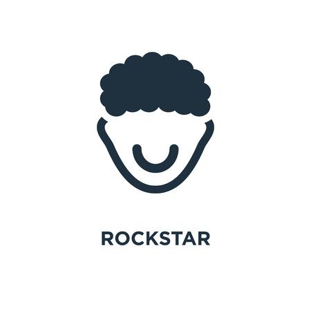 Rockstar-Symbol. Schwarz gefüllte Vektorillustration. Rockstar-Symbol auf weißem Hintergrund. Kann im Web und mobil verwendet werden. Vektorgrafik