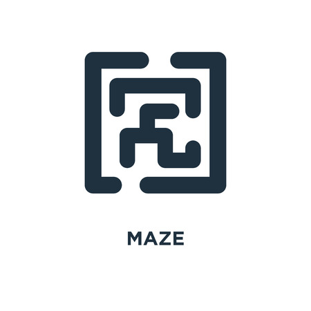 Maze icon. Black filled vector illustration. Maze symbol on white background. Can be used in web and mobile. Vectores