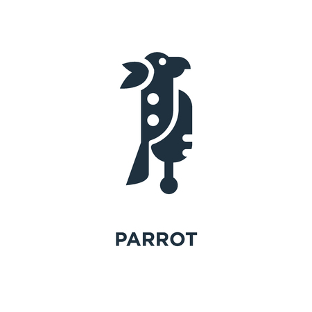 Parrot icon. Black filled vector illustration. Parrot symbol on white background. Can be used in web and mobile. Illustration
