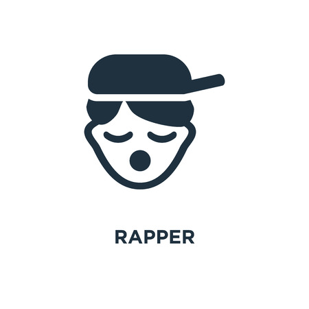 Rapper icon. Black filled vector illustration. Rapper symbol on white background. Can be used in web and mobile. Illustration