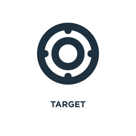 Target icon. Black filled vector illustration. Target symbol on white background. Can be used in web and mobile.