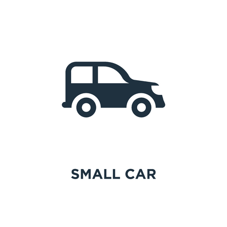 Small car icon. Black filled vector illustration. Small car symbol on white background. Can be used in web and mobile. Ilustracja