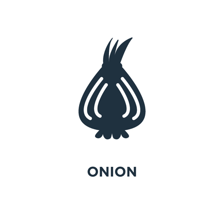 Onion icon. Black filled vector illustration. Onion symbol on white background. Can be used in web and mobile. Illustration