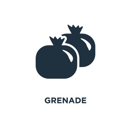 Grenade icon. Black filled vector illustration. Grenade symbol on white background. Can be used in web and mobile.