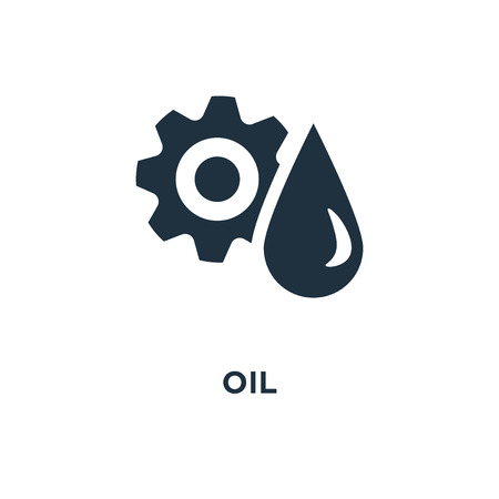 Oil icon. Black filled vector illustration. Oil symbol on white background. Can be used in web and mobile. Çizim