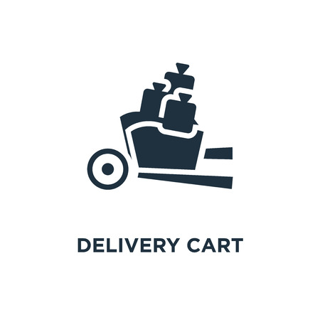 Delivery cart icon. Black filled vector illustration. Delivery cart symbol on white background. Can be used in web and mobile. 矢量图像