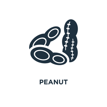 Peanut icon. Black filled vector illustration. Peanut symbol on white background. Can be used in web and mobile.