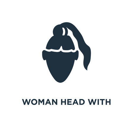Woman Head with Ponytail icon. Black filled vector illustration. Woman Head with Ponytail symbol on white background. Can be used in web and mobile.