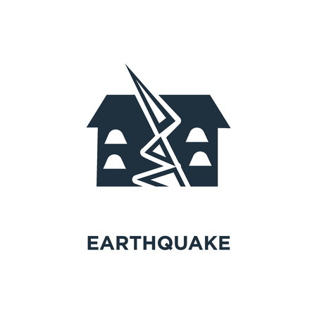 Earthquake icon. Black filled vector illustration. Earthquake symbol on white background. Can be used in web and mobile.