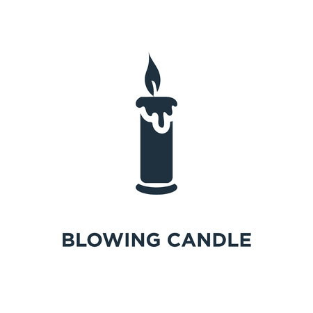 Blowing Candle icon. Black filled vector illustration. Blowing Candle symbol on white background. Can be used in web and mobile.