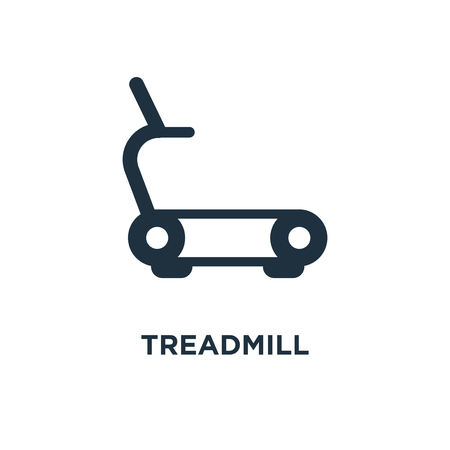Treadmill icon. Black filled vector illustration. Treadmill symbol on white background. Can be used in web and mobile.