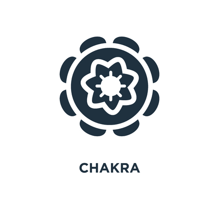 Chakra icon. Black filled vector illustration. Chakra symbol on white background. Can be used in web and mobile.