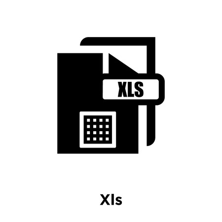 Xls icon vector isolated on white background, logo concept of Xls sign on transparent background, filled black symbol