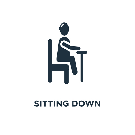 sitting down icon. Black filled vector illustration. sitting down symbol on white background. Can be used in web and mobile.