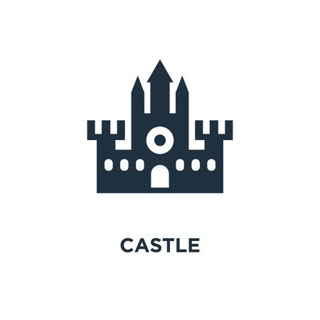 Castle icon. Black filled vector illustration. Castle symbol on white background. Can be used in web and mobile.