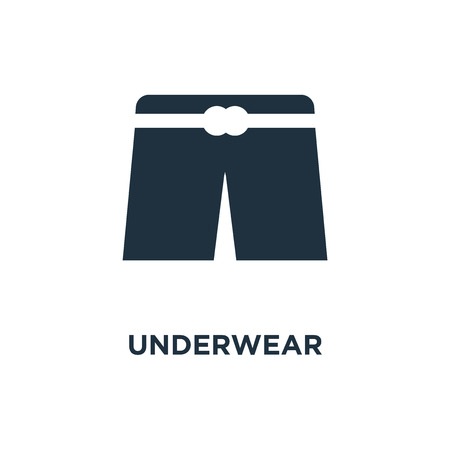 Underwear icon. Black filled vector illustration. Underwear symbol on white background. Can be used in web and mobile. Illustration