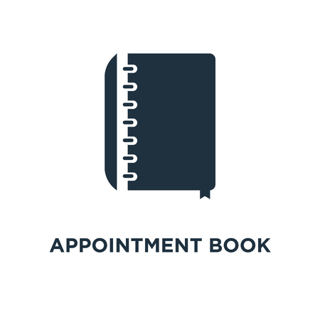 Appointment book icon. Black filled vector illustration. Appointment book symbol on white background. Can be used in web and mobile.